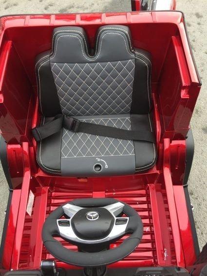Электромобиль Mercedes-Benz G65 AMG красный (усиленный аккумулятор, кожа, резина, пульт, музыка, глянцевая покраска)