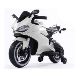 Детский электромотоцикл Ducati 12V- FT-1628 белый (колеса пластик с резиновой проставкой, сиденье кожа, музыка, страховочные колеса)