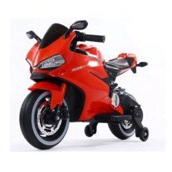 Детский электромотоцикл Ducati 12V- FT-1628 красный (колеса пластик с резиновой проставкой, сиденье кожа, музыка, страховочные колеса)